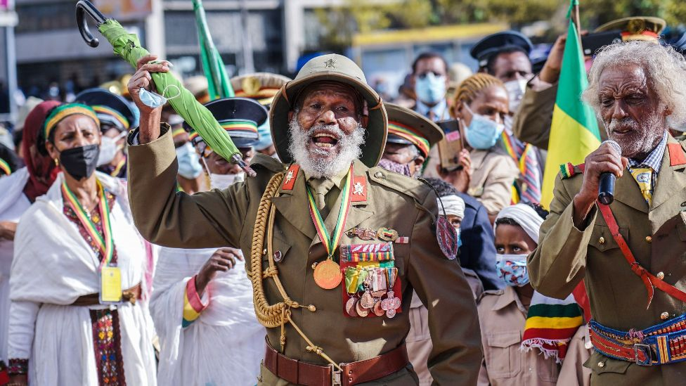 War veterans and other marking patriot day in Addis Ababa, Ethiopia - Wednesday 5 May 2021