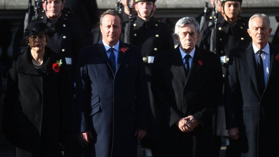 Former Prime Ministers Theresa May, David Cameron, Gordon Brown and Tony Blair