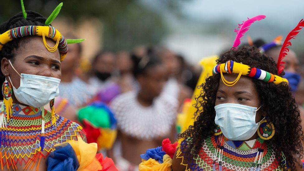 Zulu women dressed in traditional beaded outfits in Nongoma, South Africa - 17 March 2021