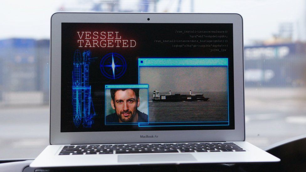 A laptop being used in a mock cyber attack
