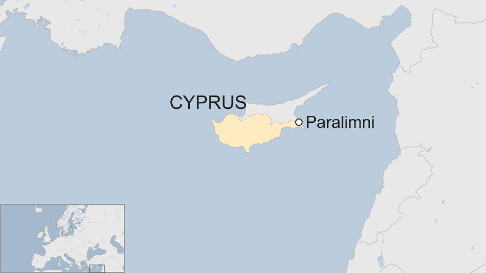 Map showing Paralimni, Cyprus