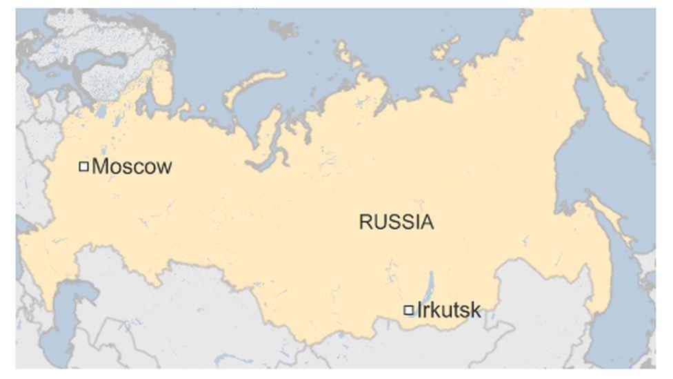Map of Irkutsk in Russia