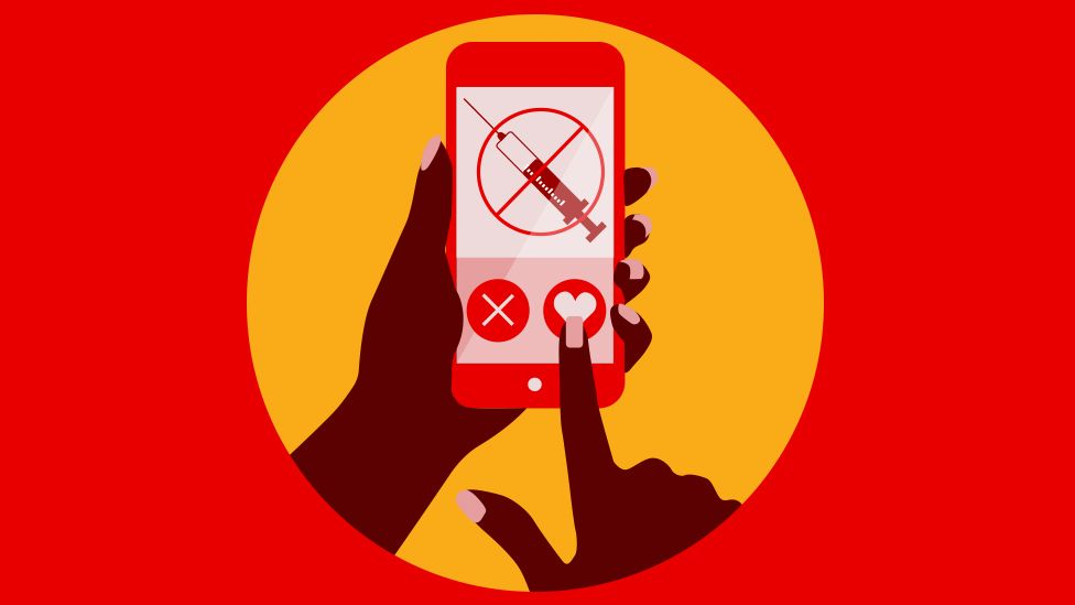 A graphic showing a phone, which an no-vaccine symbol on it.