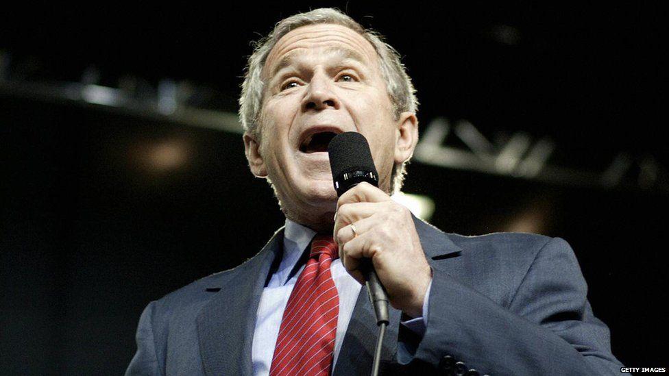 President George W Bush speaks in Nebraska in 2005.