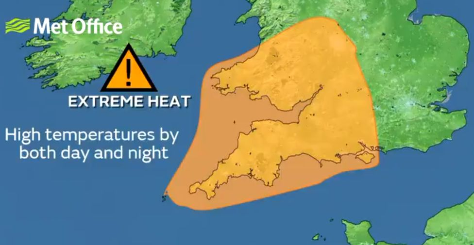 A map showing the extreme heat warning