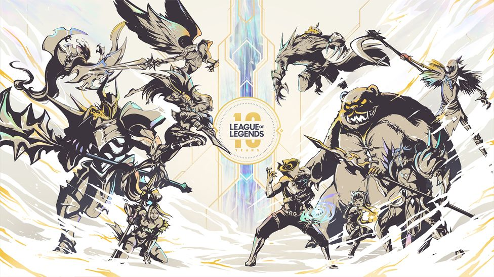 A promotional image for League of Legends' 10th anniversary