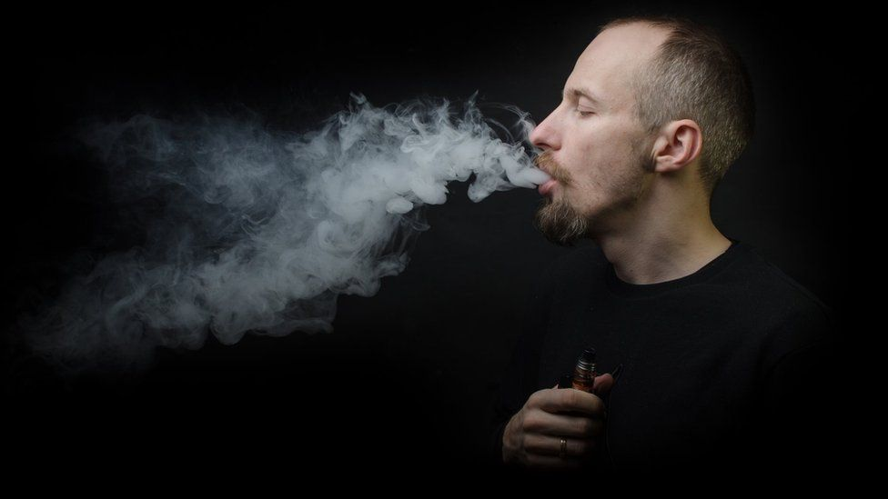 Person using e-cigarette