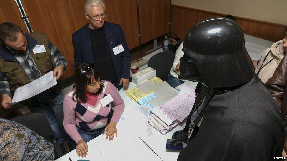 Darth Vader at a polling booth