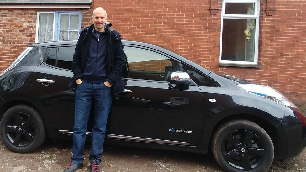 Alex Banks from Exeter drives an electric Nissan Leaf