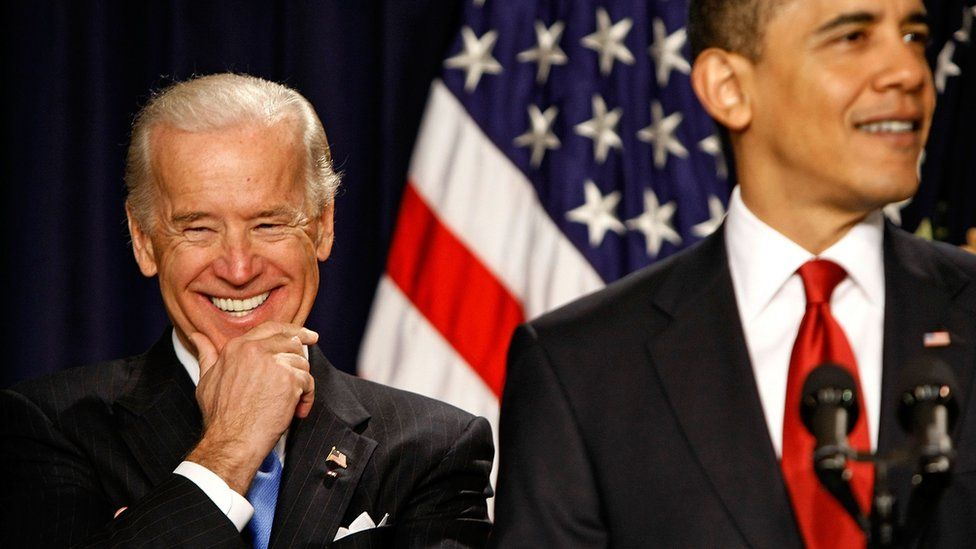 US Vice President Joe Biden laughs at a joke while President Barack Obama delivers remarks on efforts to transform travel in America with a system of high-speed rail in the Eisenhower Executive Office Building April 16, 2009 in Washington, DC.