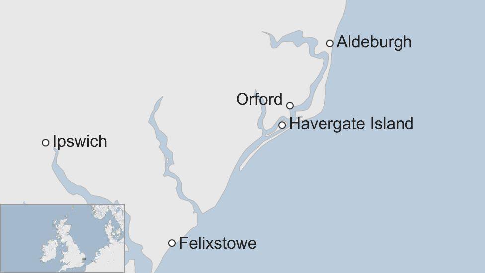 Map showing Havergate Island, Suffolk