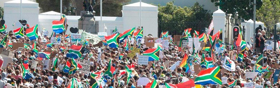 Thousands call for Jacob Zuma to step down at rally in Cape Town in April 2017