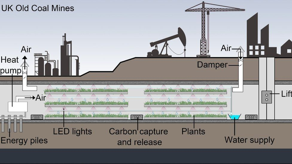 Image of mine shaft and tunnels for crop production