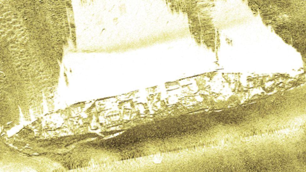 3D sonar scan of the HMHS Anglia