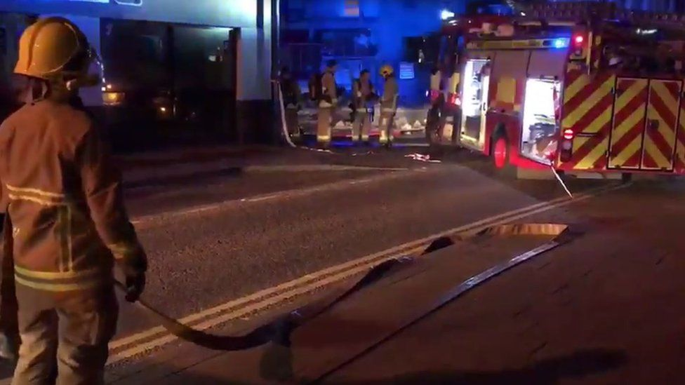 Eight fire appliances attended the scene