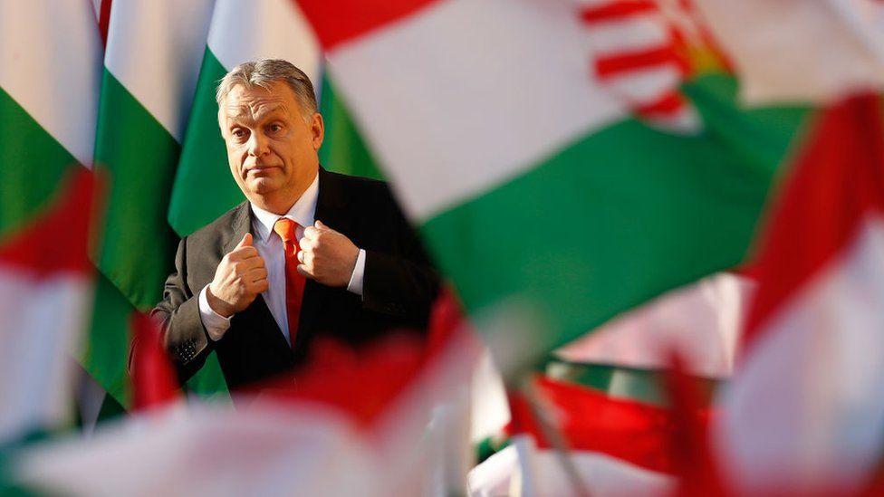 Viktor Orban walking among Hungarian flags