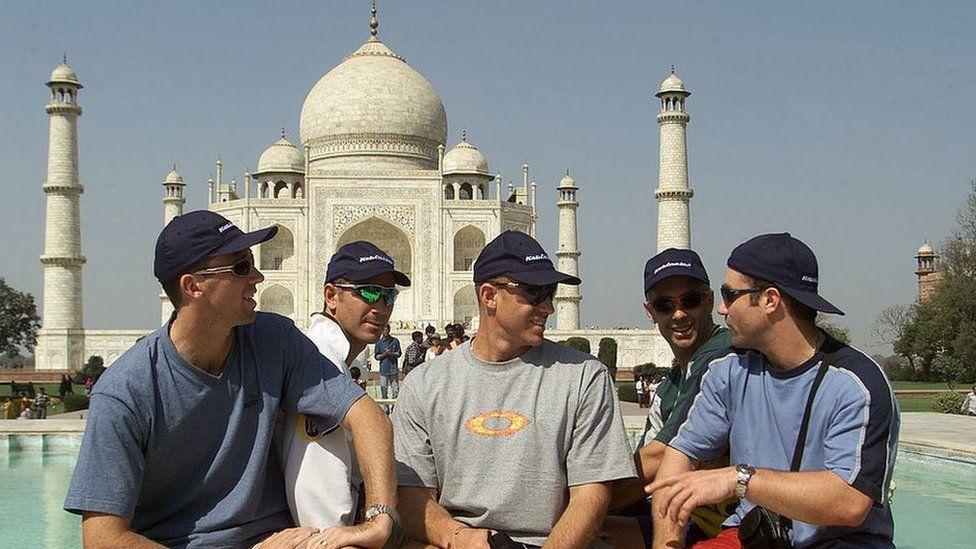 Glenn McGrath, Justin Langer, Matthew Hayden, Colin Miller and Michael Slater of Australia pose in front of the Taj on 5 March 2001.