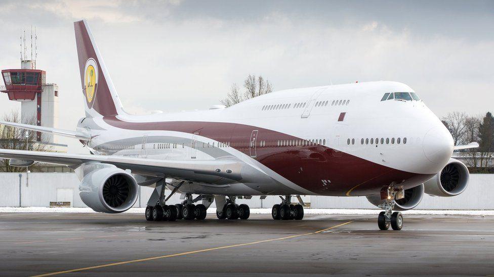 Qatar Amiri Flight Boeing 747-8 BBJ (VQ-BSK) airplane parked at Zurich International Airport (27 January 2015)