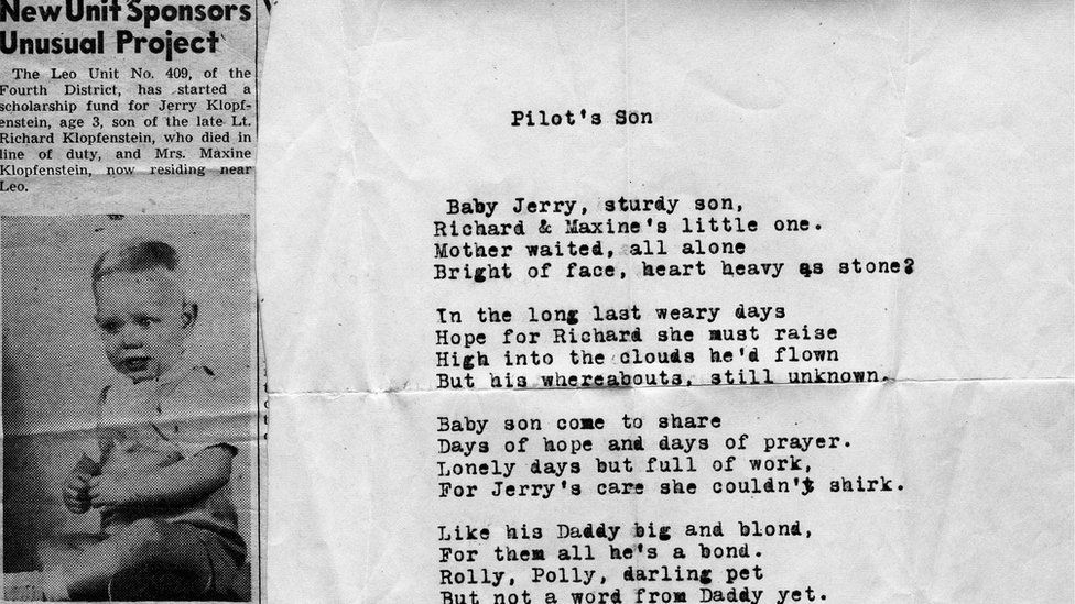 2nd Lt Richard Klopfenstein's son & poem