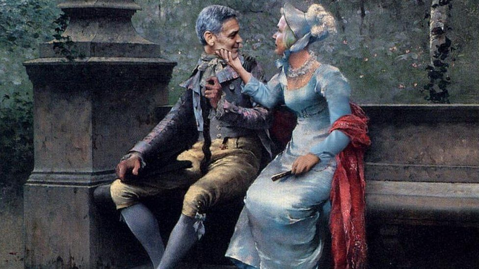 A photoshop image of the Clooney chin grab