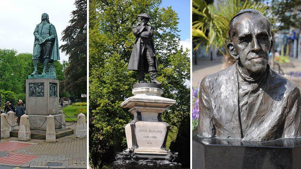 Statues of John Bunyan, John Howard and Trevor Huddleston