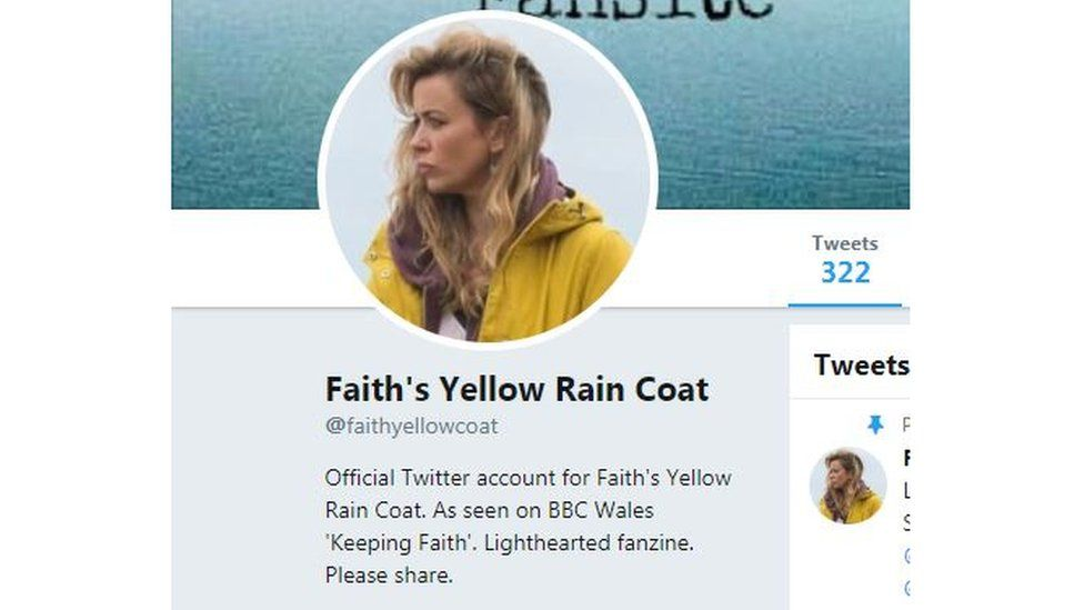 Twitter account for Faith's Yellow Rain Coat
