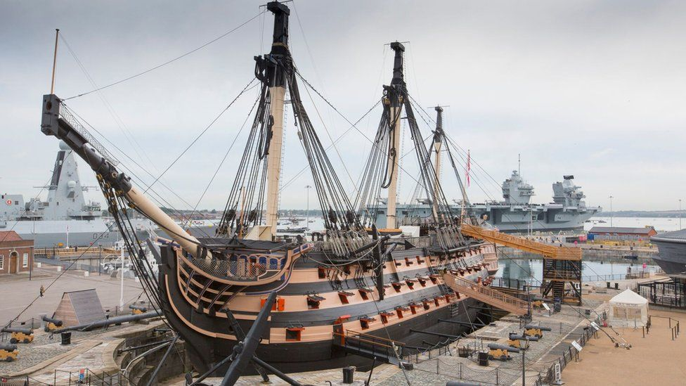 HMS Victory work starts to prevent warship's collapse - BBC News