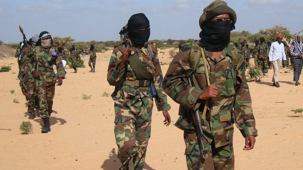 Somalia al-Shabab fighters gather on February 13, 2012 in Elasha Biyaha, in the Afgoei Corridor