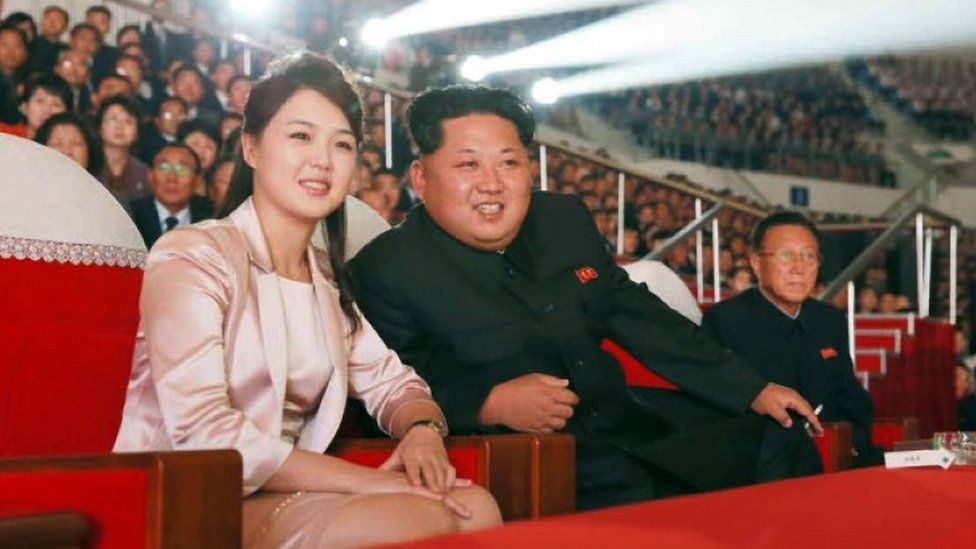 North Korean leader Kim and his wife