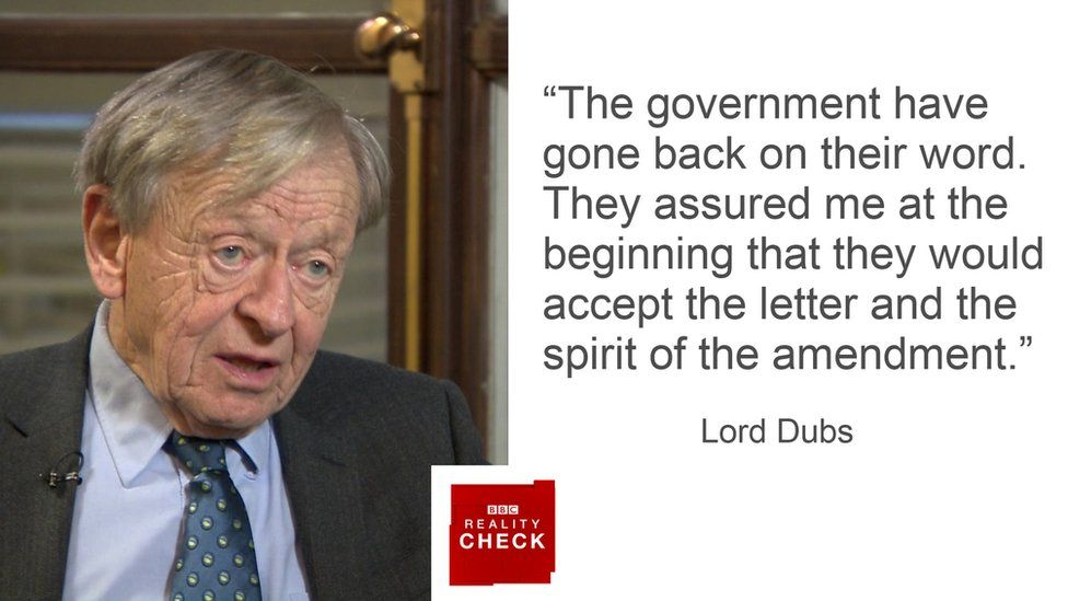 "Lord Dubs: ""the government have gone back on their word. They assured me at the beginning that they would accept the letter and the spirit of the amendment"""