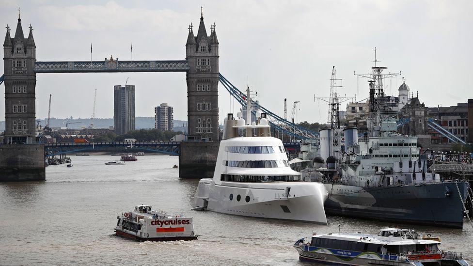 Motor Yacht A near Tower Bridge, 7 Sep 16