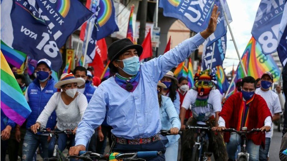 Supporters accompany candidate for the Presidency of Ecuador Yaku Perez (C), in a closing campaign rally through the streets of Quito, Ecuador, 03 February 2021.