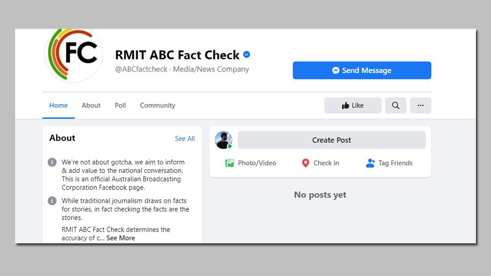 """The Facebook page of RMIT ABC Fact Check with a message showing """"no posts yet"""""""