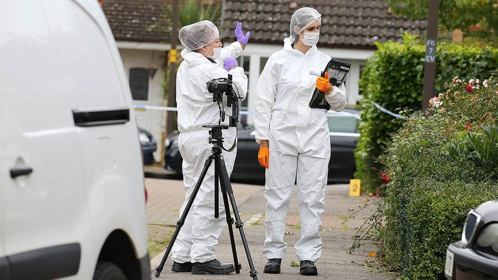 Scene of crime officers at Archford Croft