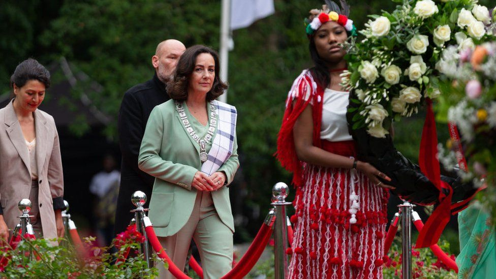 Mayor of Amsterdam Femke Halsema attends Keti Koti, the annual commemoration of the abolition of slavery on 1 July 2021