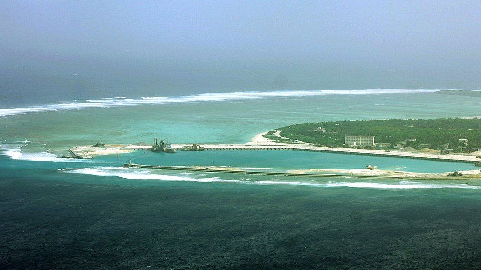 This aerial view of the city of Sansha on an island in the disputed Paracel chain, which China now considers part of Hainan province. File photo