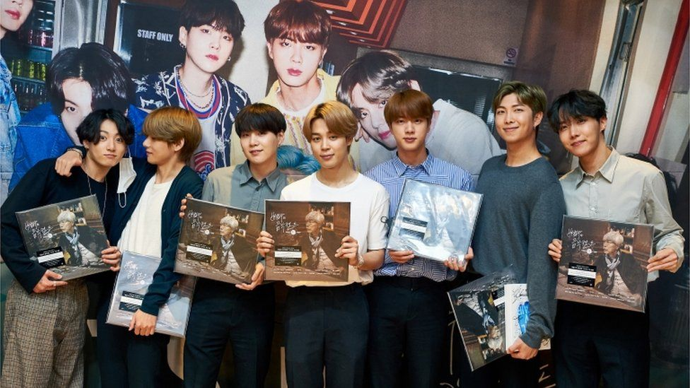 Members of BTS pose, September 2020