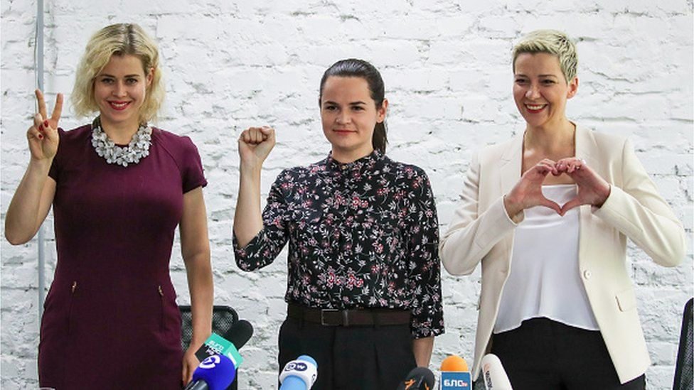 Viktoria Tsepkalo, Svetlana Tikhanovskaya, and Maria Kolesnikova