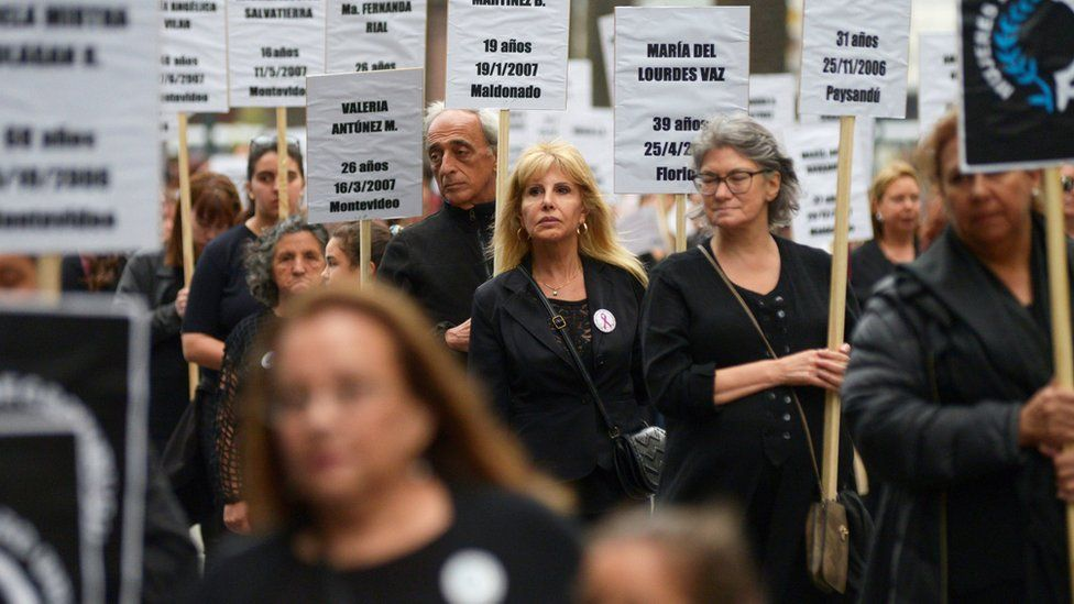 Demonstrators participate in a protest against femicide and violence against women, in Montevideo, Uruguay, 25 November, 2019.