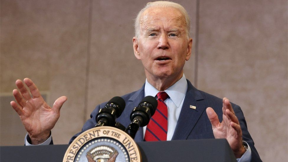 Joe Biden giving a speech in North Carolina, June 2021