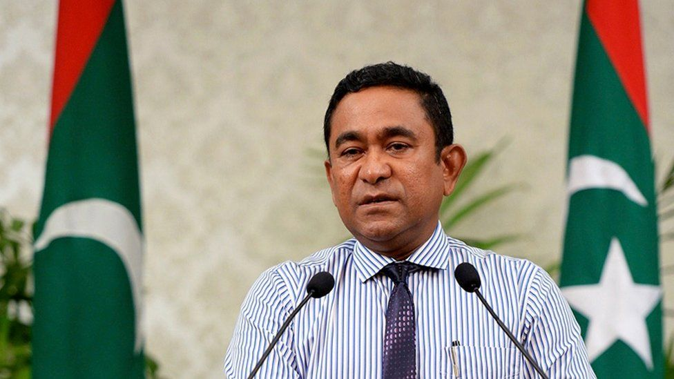 This photograph released by Maldives President office shows Maldives President Yameen Abdul Gayoom addressing the nation in Male, Maldives, Sunday, Oct. 25, 2015.