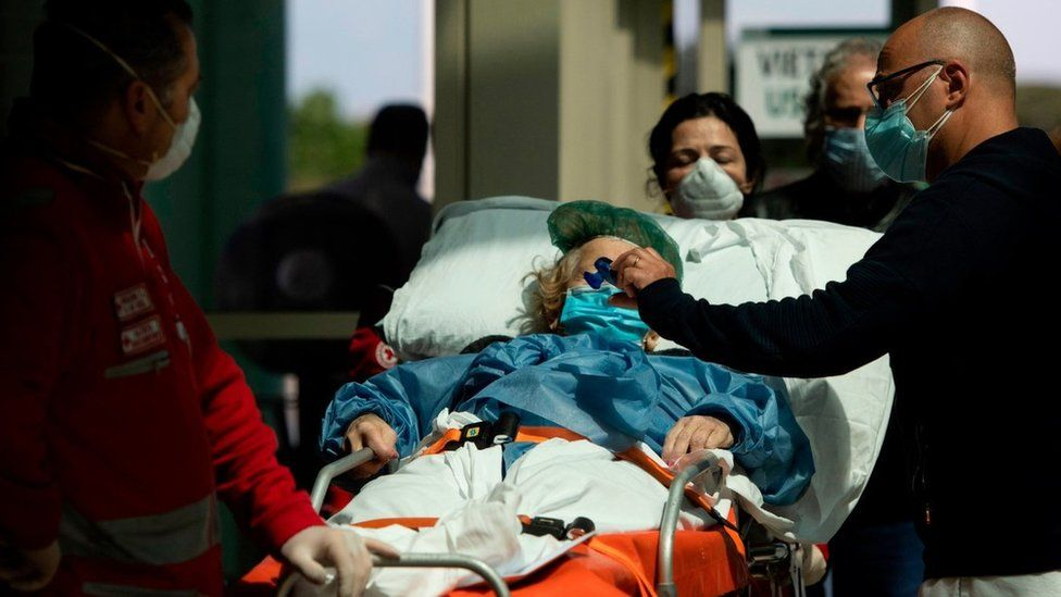 Patient arrives at Tor Vergata Covid hospital in Rome on 6 May