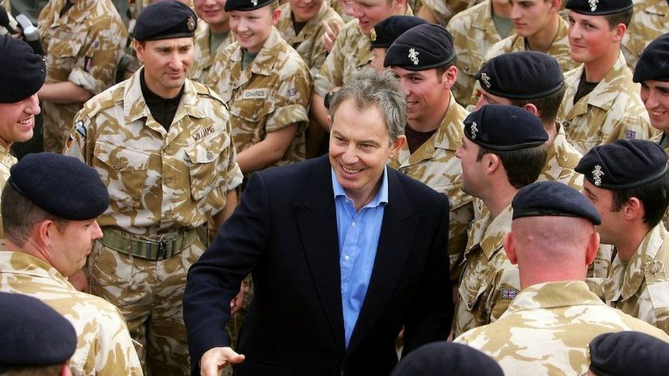 Tony Blair in Iraq in December 2004