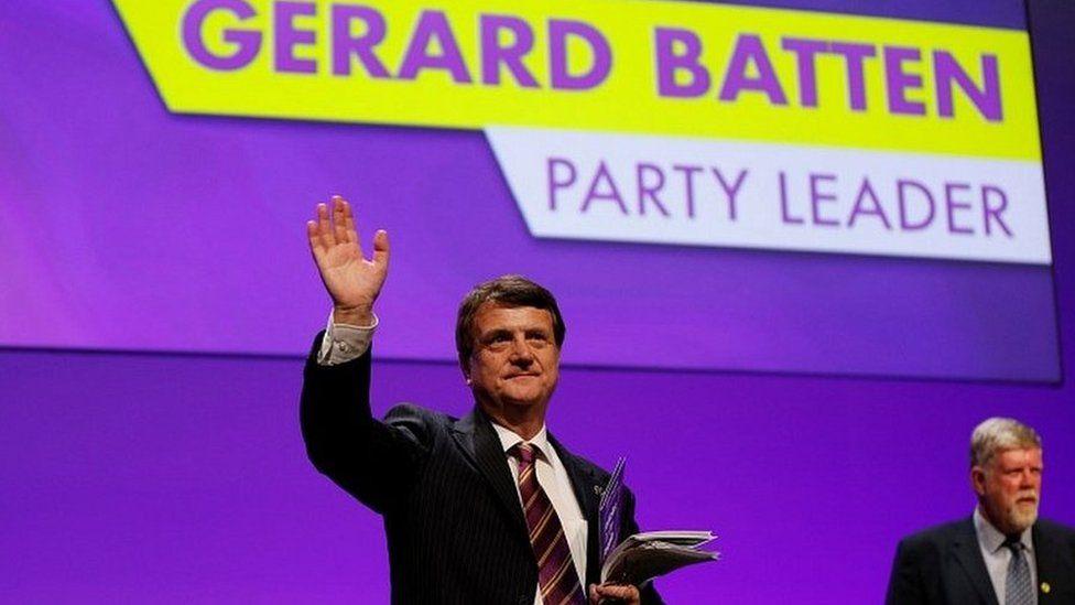 Gerard Batten after being elected as leader