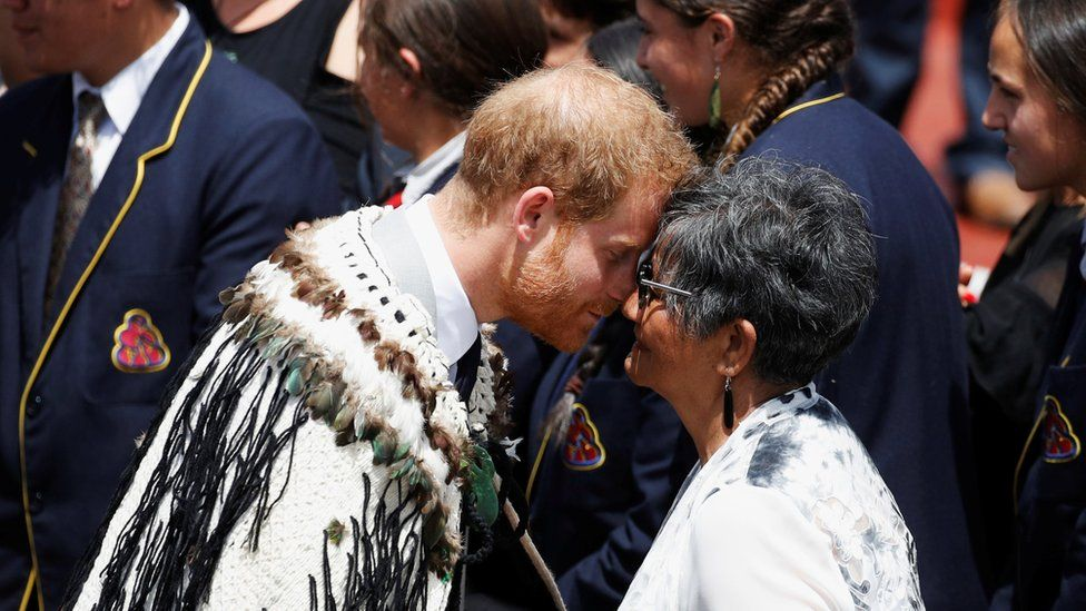 Duke of Sussex receives a traditional Maori hongi greeting during a visit to Te Papaiouru Marae on 31 October 2018 in Rotorua, New Zealand.