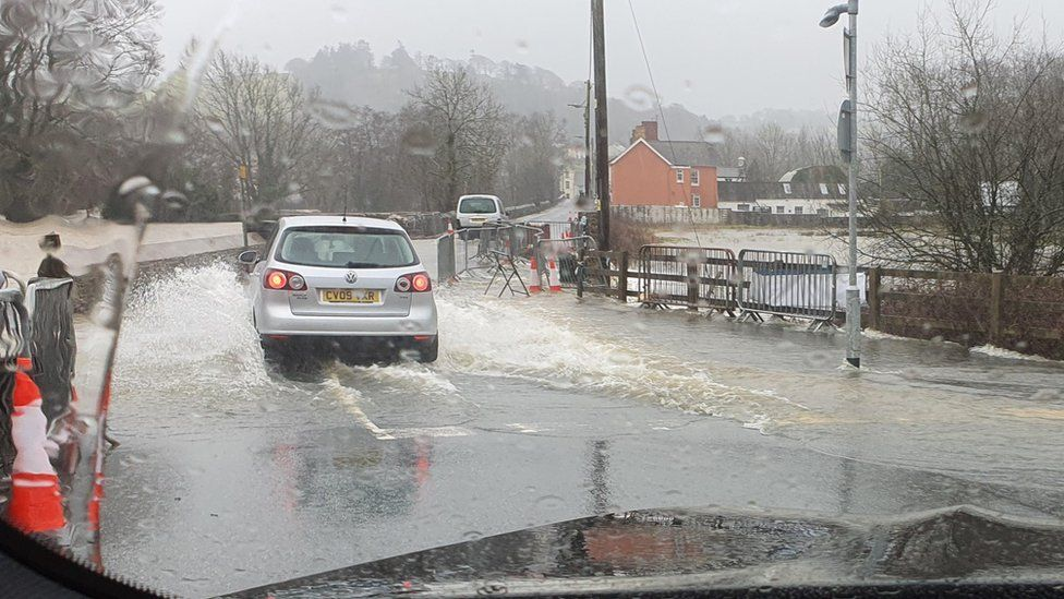 Flooded road in Llanybydder in Carmarthenshire