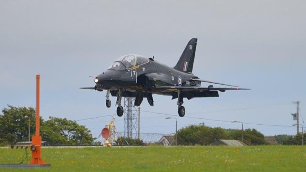 Hawk aircraft landing at RNAS Culdrose