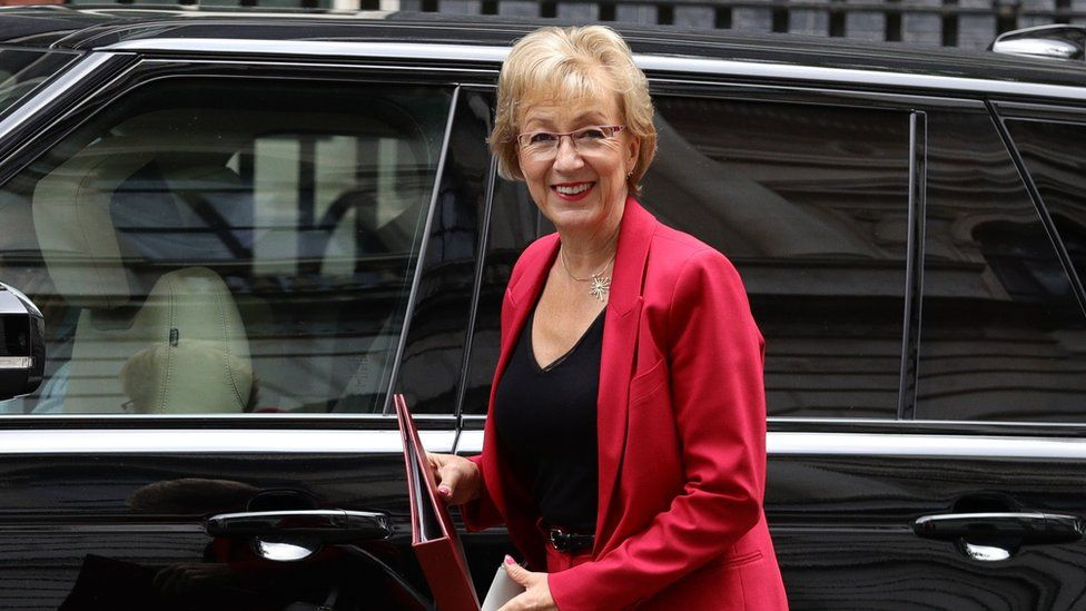 Business Secretary Andrea Leadsom arrives at 10 Downing Street in London.