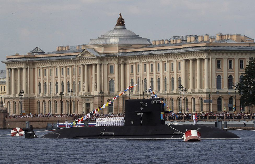 "Russian Navy sailors onboard the diesel-electric submarine Kronstadt during the ""Russia Navy Day"" parade in St Petersburg, Russia, 28 July 2019"