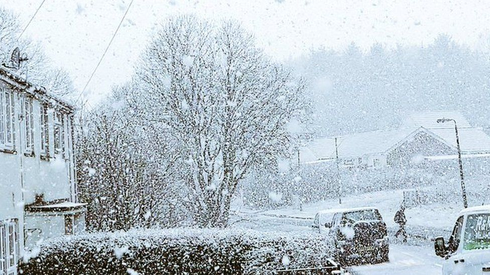 Snow in Rassau, Ebbw Vale